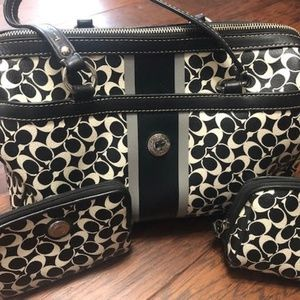 Authentic 3 Pc Coach Black and White Signature